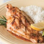 grilled catfish with rosemary, white rice and asparagus