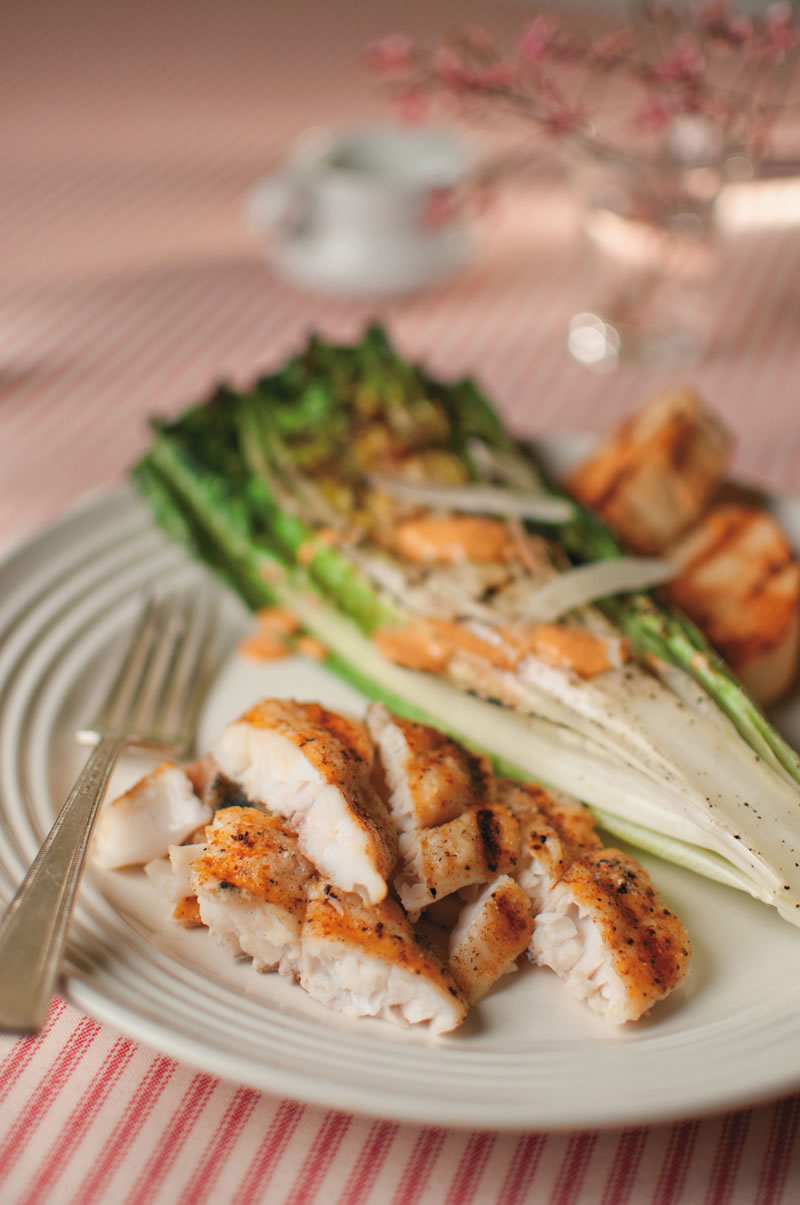 Grilled Catfish with Charred Romaine & Chipotle Dressing