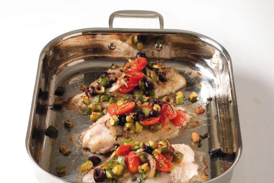 Baked Catfish Mediterranean