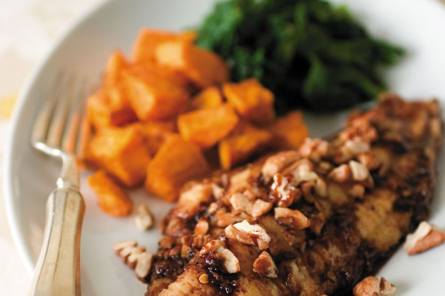 Southern-Style Sweet Bourbon Glazed Catfish with Toasted Pecans