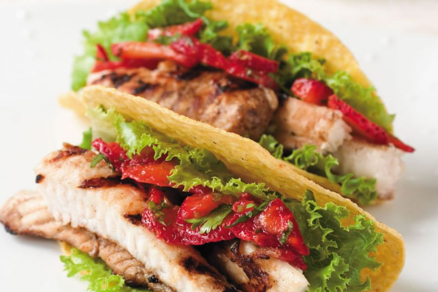Catfish Tacos with Strawberry Cilantro Salsa