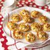 catfish stuffed mini filo cups on polka dot placemat