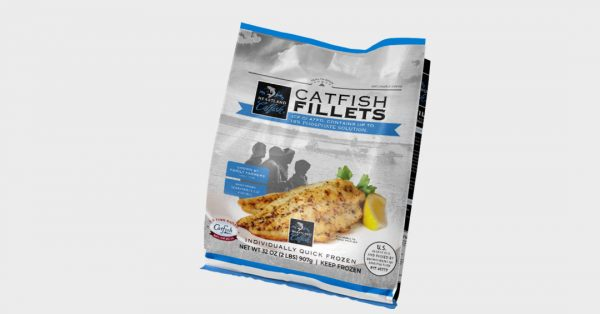 Frozen catfish fillets product bag