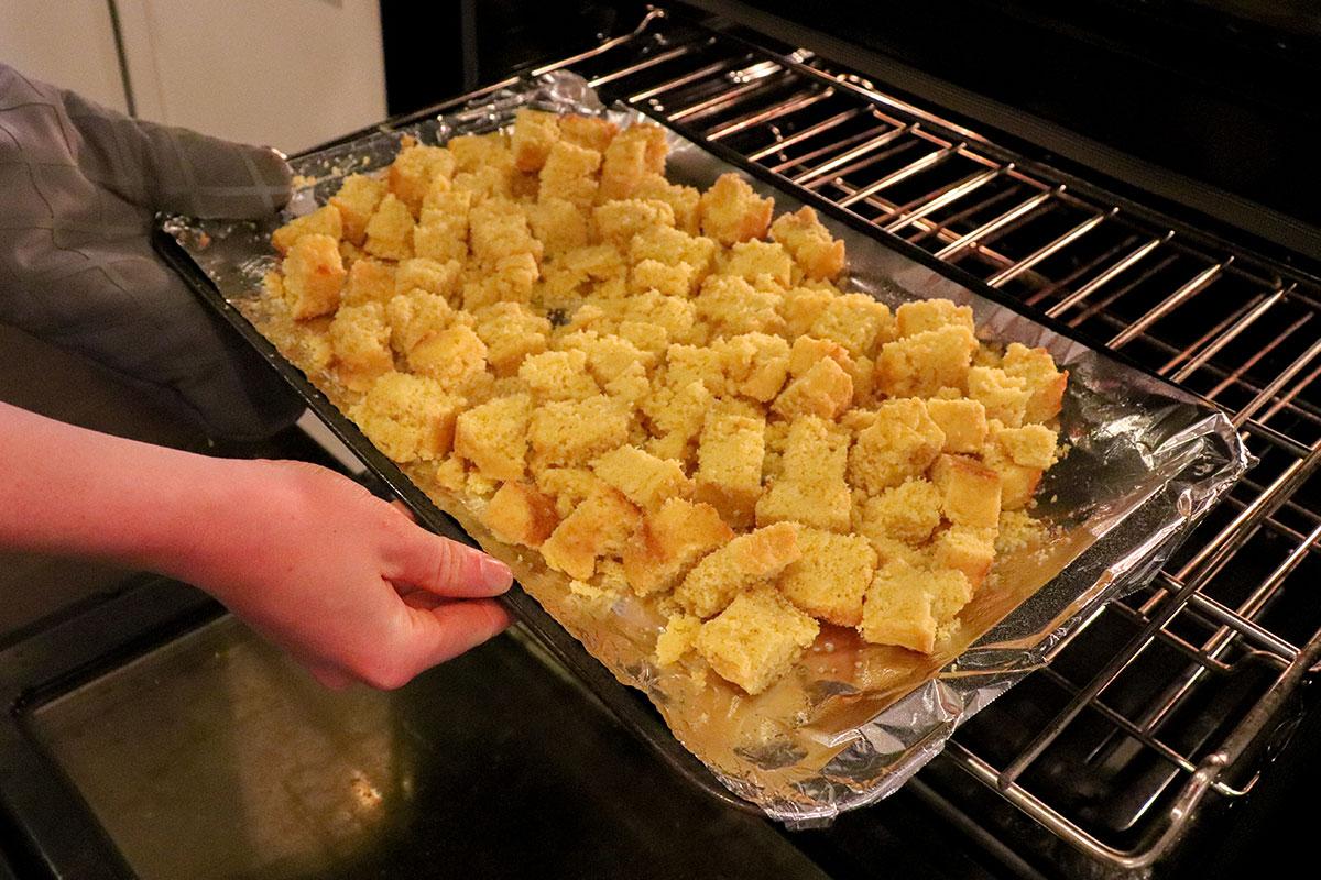 cooking cornbread in oven