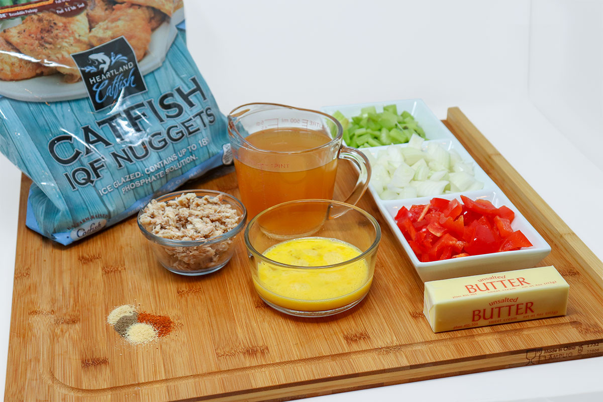 ingredients for catfish cornbread dressing