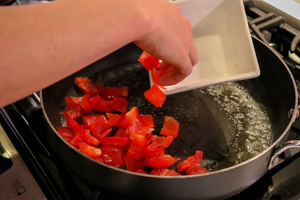 sautee red bell peppers on stove