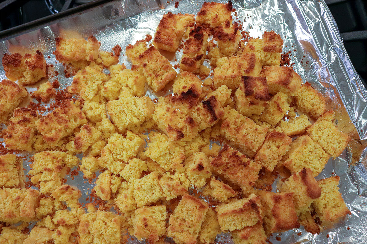 cornbread on baking sheet