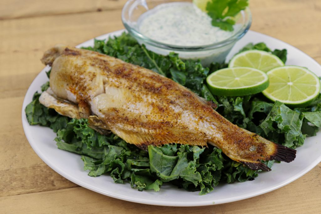Grilled Catfish on a plate with limes and sauce