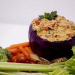 Catfish gumbo dip with fresh veggies and crackers