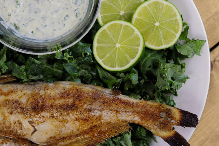Cedar Plank Grilled Catfish with Cilantro Lime Sauce