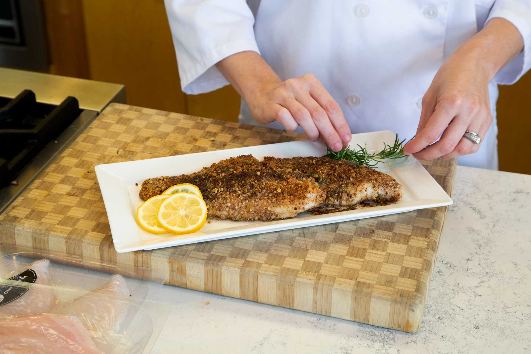Pecan Crusted Catfish on plate