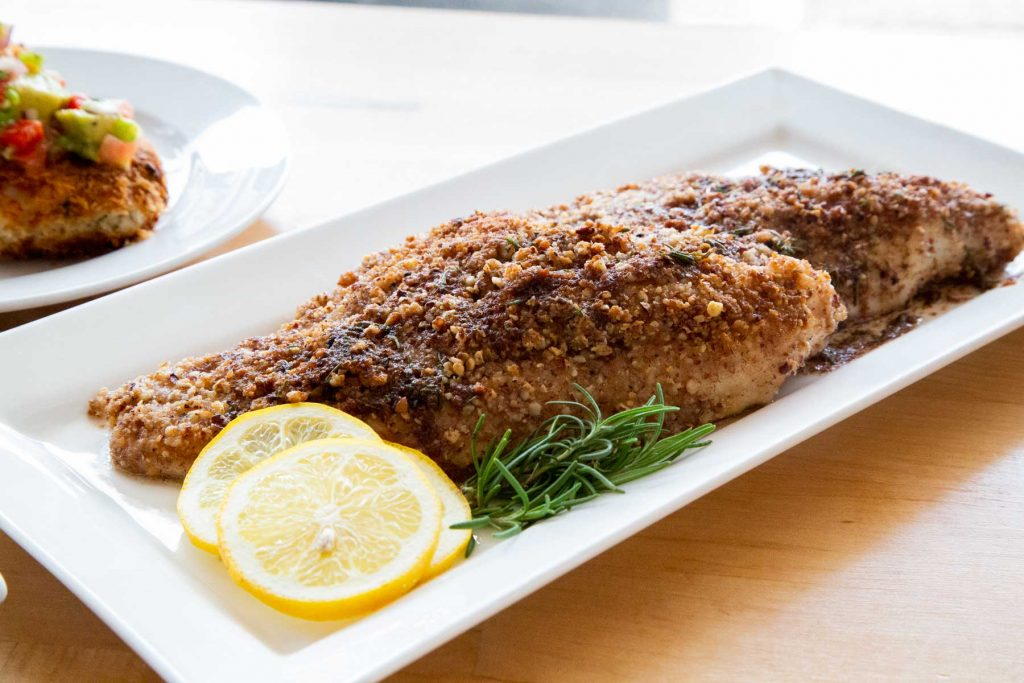 plated Pecan Crusted Catfish with Lemon