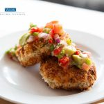 Catfish Cakes topped with salsa on plate