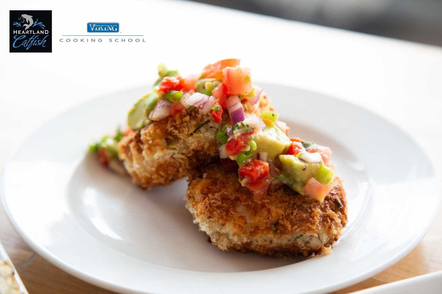 Smoked Catfish Cakes with Avocado Salsa