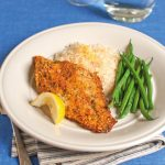 Baked Italian Catfish with rice and green beans