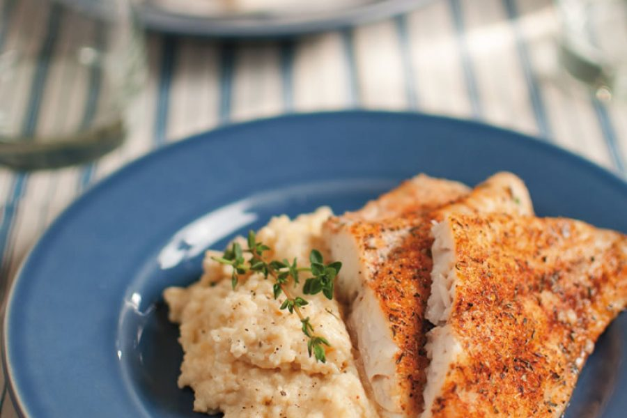 Oven-Baked Blackened Catfish & Savory Cheese Grits