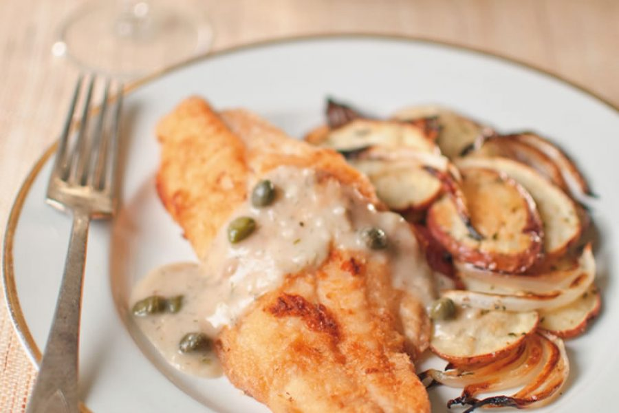 Catfish with Caper & Dill Sauce and Rosemary Potatoes