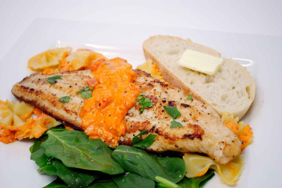 Pan-Seared Catfish with Roasted Red Pepper Sauce