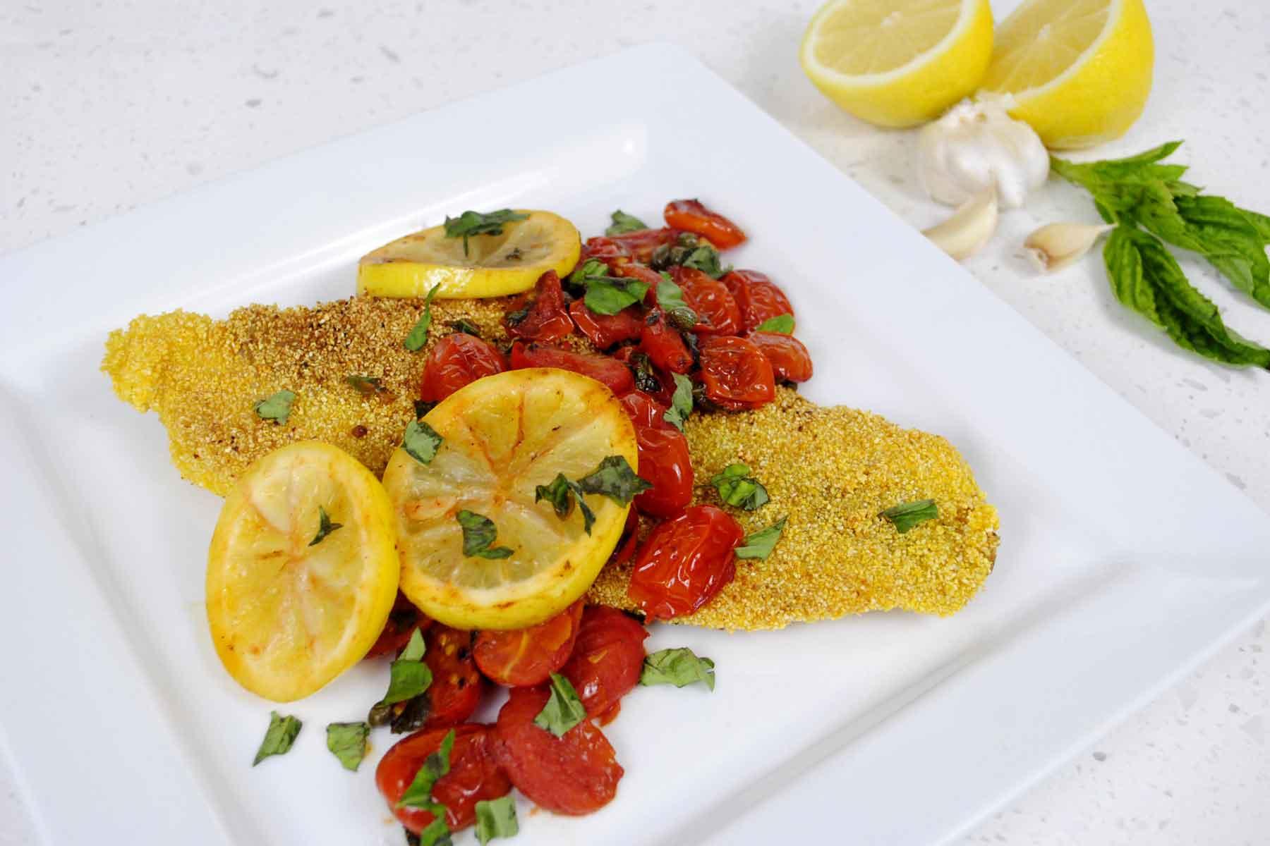 Grits-Crusted Catfish with Tomatoes, Basil & Lemon