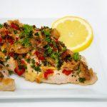 closeup of roasted catfish fillet recipe