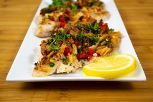 catfish and veggies plated
