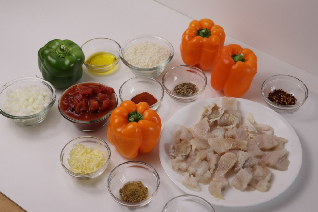 Jack-o-Lantern Catfish Stuffed Bell Pepper Ingredients