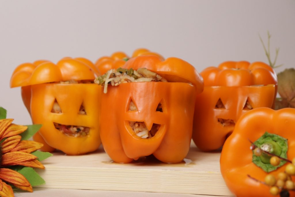 Catfish stuffed Jack-o-lantern Bell Peppers