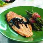 Balsamic Glazed Catfish on green plate