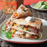 Catfish Quesadillas filled with pico de gallo and corn