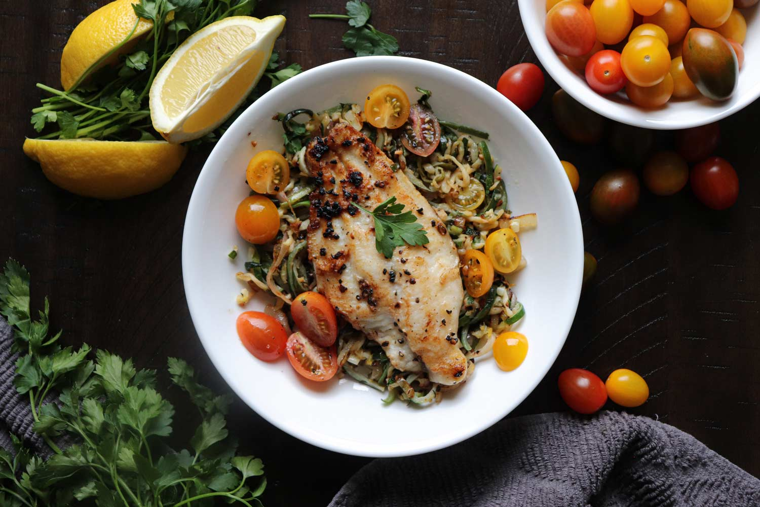 Pan-Seared Catfish with Lemony Zucchini Noodles
